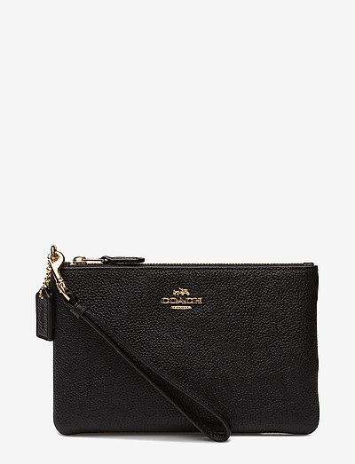 Coach Polished Pebble Small Wristlet- Kirjekuorilaukut Li/black