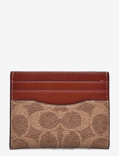 FLAT CARD CASE Non Leather Womens SLGs - plånböcker - b4/tan rust