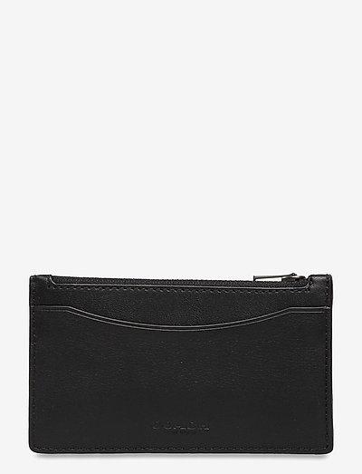 ZIP CARD CASE Smooth Leather Mens Wallets - plånböcker & fodral - blk