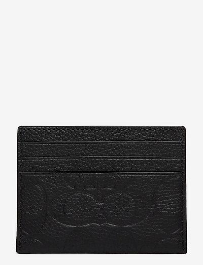 CARD CASE Textured Leather Mens Wallets - plånböcker & fodral - blk