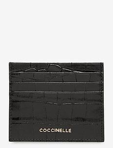 METALLIC CROCO SHINY SOFT - korthållare - noir