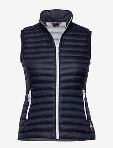 LADIES DOWN VEST - vests - 068 navy blue-light stee