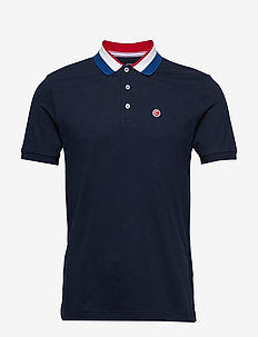 KNITTED SHIRT - short-sleeved polos - 068 navy blue