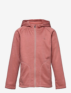 Fleece melange jacket w. hood - fleecetøj - dusty cedar