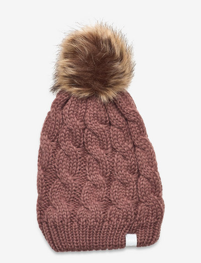 Hat w. detachable fake fur - beanie - burlwood