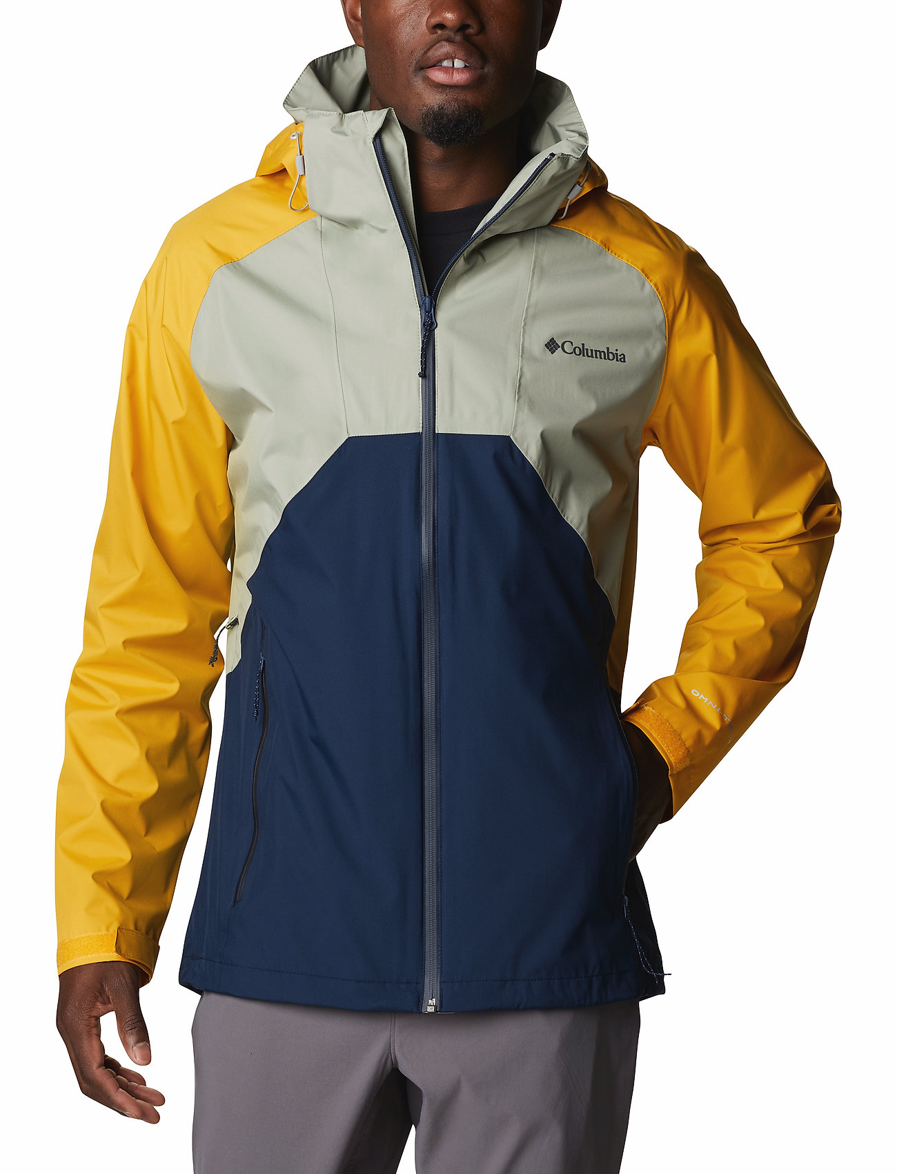 Columbia - Rain Scape Jacket - kurtki turystyczne - safari, bright gold, collegiate navy - 0