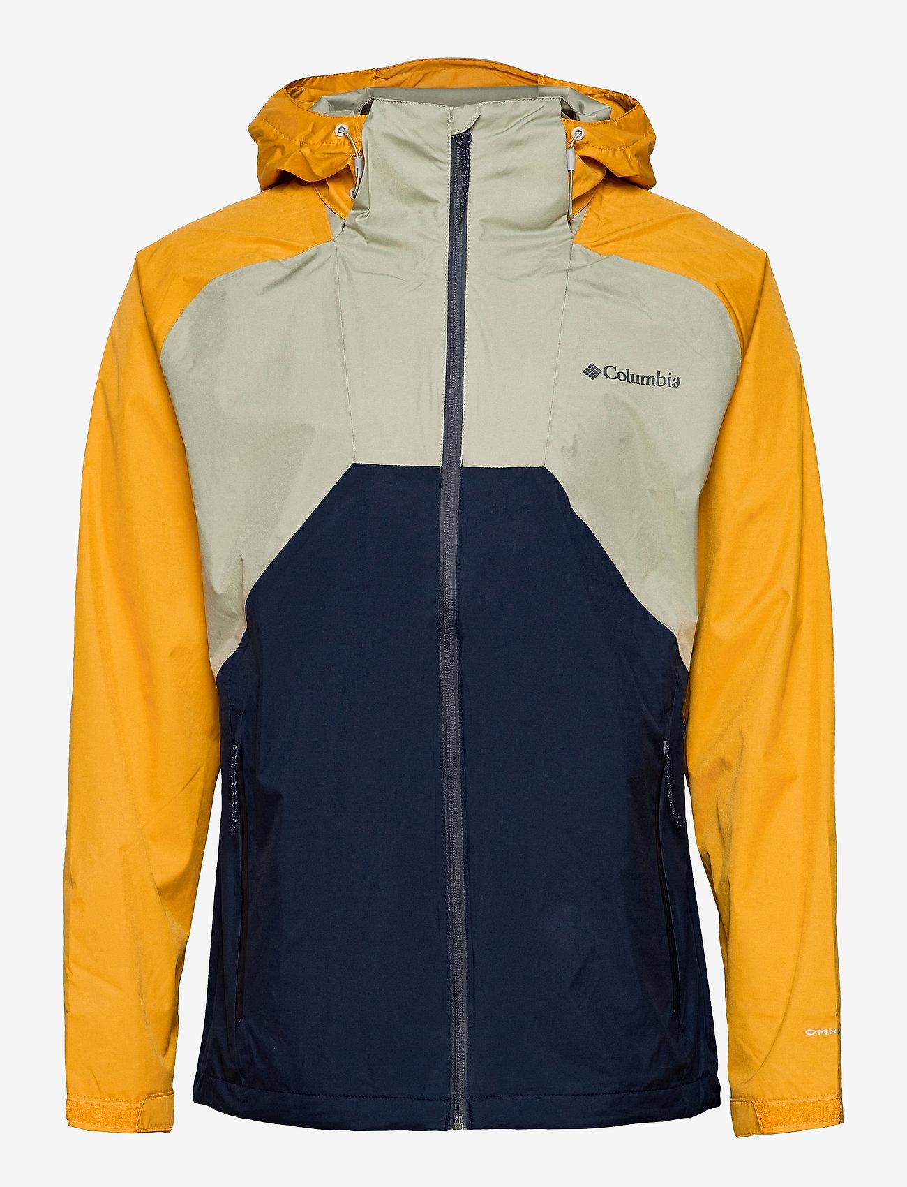 Columbia - Rain Scape Jacket - kurtki turystyczne - safari, bright gold, collegiate navy - 1