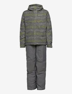 Buga Set - snowsuit - city grey dot scape print, columbia grey