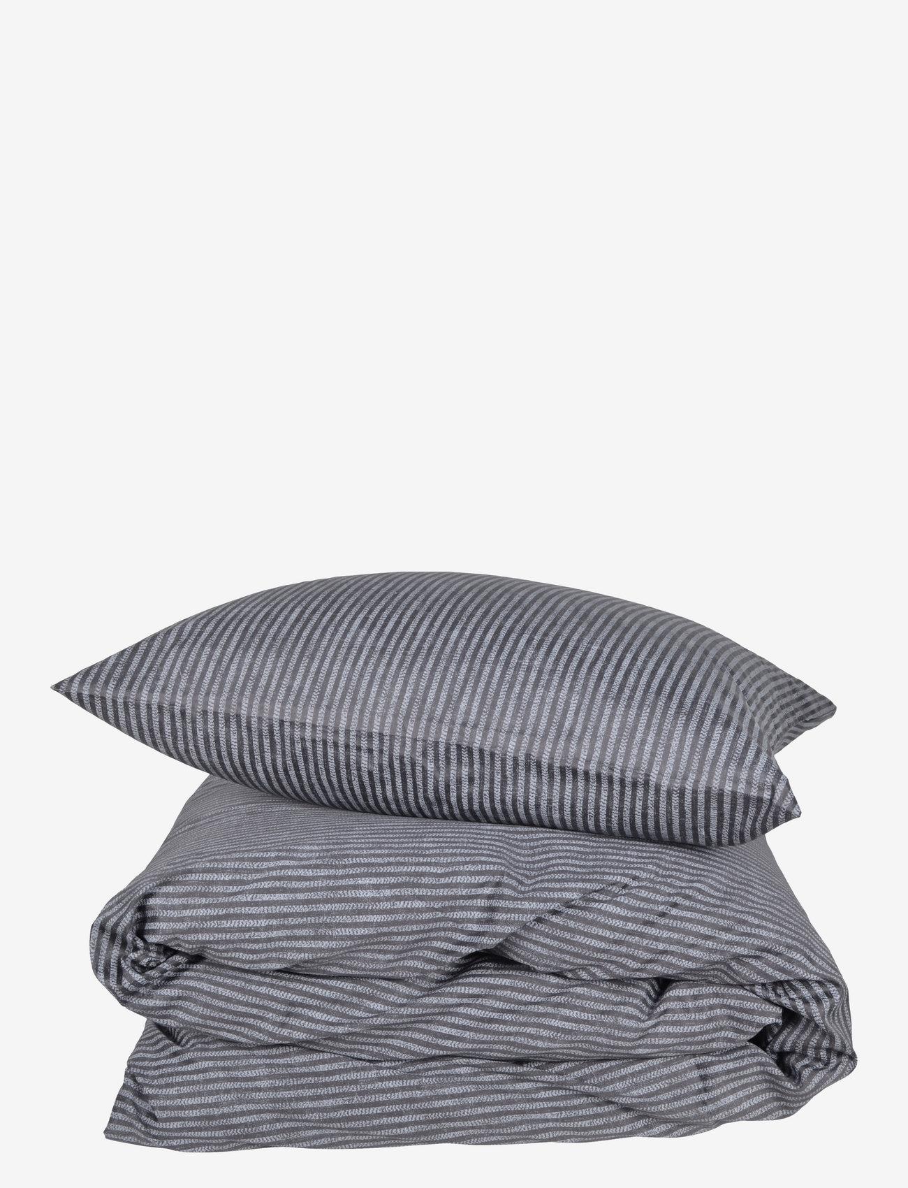 compliments - Raw Stripe 140x200 cm - sengesæt - grey - 0