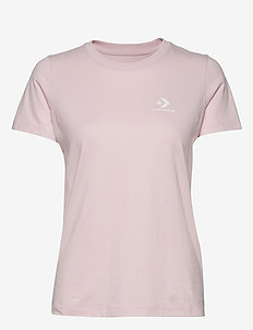 STACKED LOGO L CHEST TEE - BARELY ROSE