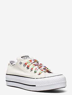 CTAS LIFT OX EGRET/WHITE/BRIGHT POPPY - lave sneakers - egret/white/bright poppy