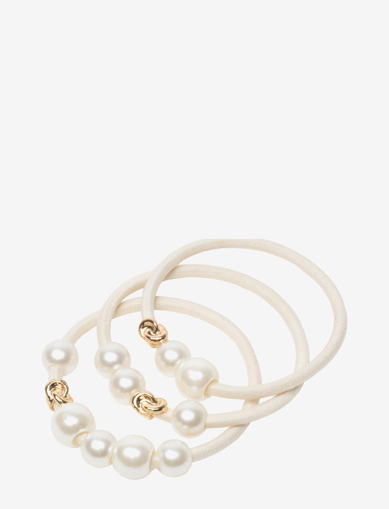Corinne - Hair Tie Pearls (3 pcs) - accessories - off white - 0