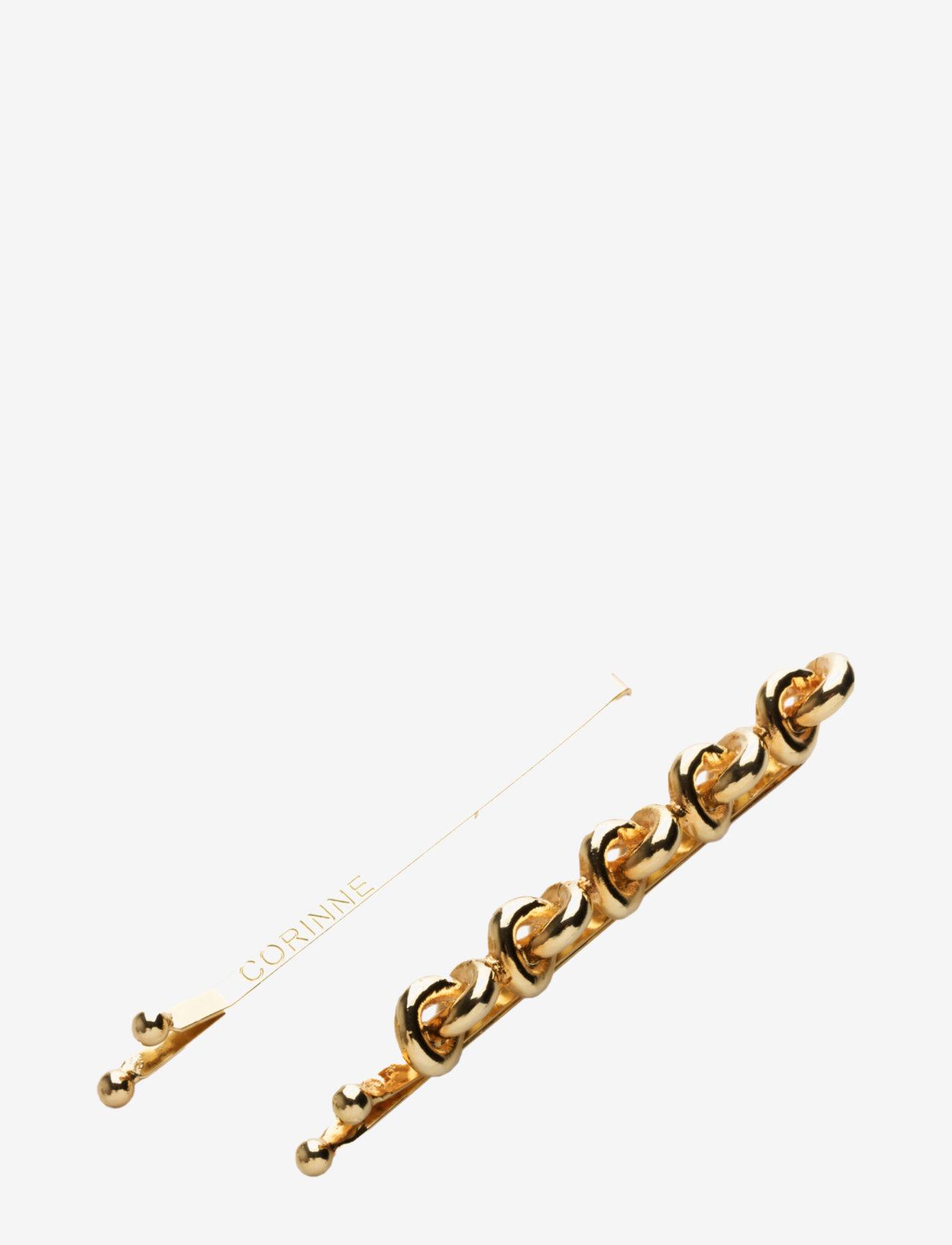 Corinne - Hairslider 5 Knots & Plain (2 pcs) - accessories - gold - 0