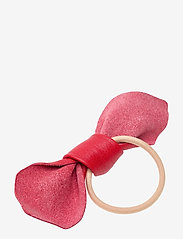 Corinne - Leather Bow Big Hair Tie - accessories - srawberry red - 1