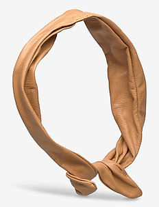 Leather Hairband Wire - hår accessories - camel
