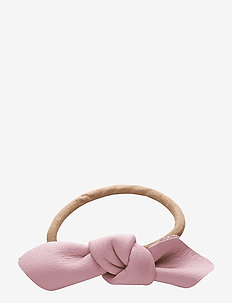 Leather Bow Small Hair Tie - PINK