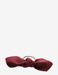 Leather Bow Big Hair Tie - hår accessories - dark red