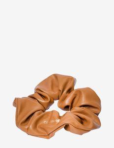 Leather Schrunchie - scrunchies - camel