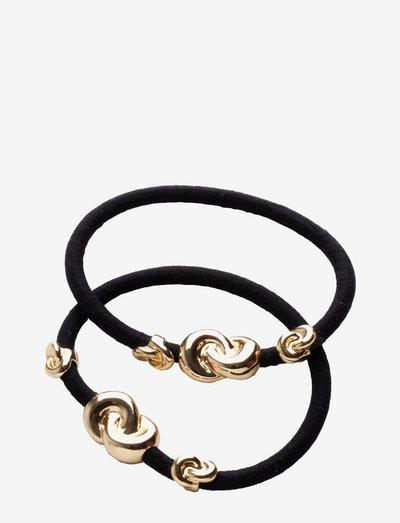 Hair Tie Three Knots (2 pcs) - hiusasusteet - black