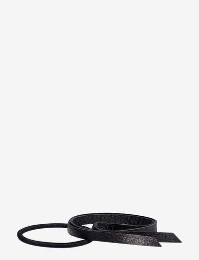 Leather Band Short Narrow - håraccessoarer - black