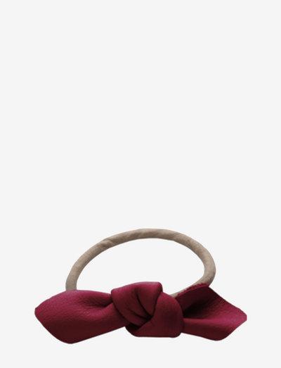 Leather Bow Small Hair Tie - hårsnoddar - dark red