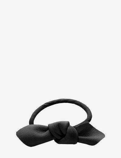 Leather Bow Small Hair Tie - accessories - black