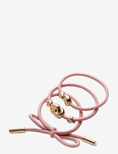 Hair Tie Metal (3 pcs) - håraccessoarer - pink