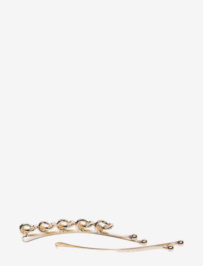 Hairslider 5 Knots & Plain (2 pcs) - hårklämmor - gold