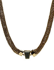 STONED NECKLACE LARGE - BRASS