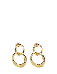DISTORTED DROP EARRING M - PAIR - GOLD PLATED BRASS
