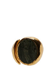 MOLDED STONE SIGNET RING - ROUND - GOLD PLATED