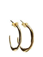 MOLDED ORGANIC HOOP EARRING M - PAIR - 53 GOLD PLATED STERLING