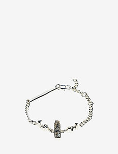 STONED CHAIN BRACELET - dainty - 20 silver plated