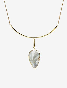 WAVED SHELL NECKLACE - .52 GOLD PLATED BRASS