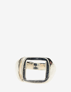 MOLDED CUTOUT SIGNET RING -SQUARE -S - ringer - 21 sterling silver