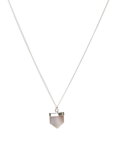 CHARMED AGATE NECKLACE MEDIUM CLASSIC - 20 SILVER PLATED