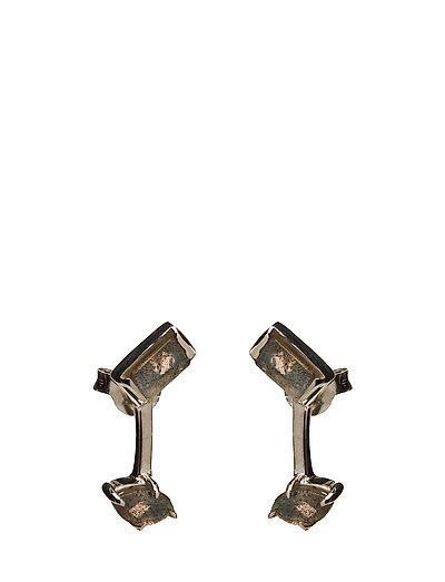 SLIZED ROD STUD EARRING SMALL - SILVER PLATED