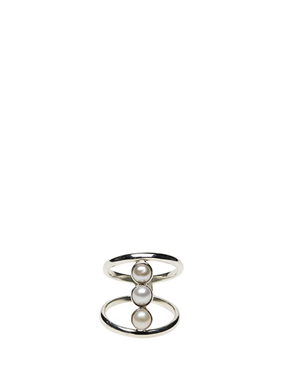 REFINED PEARL DOUBLE RING CLASSIC - 21 STERLING SILVER