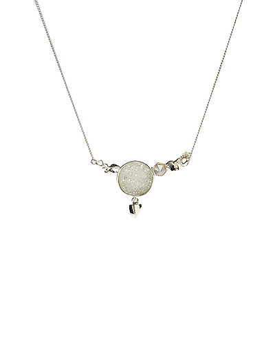 STONED NECKLACE MEDIUM - 20 SILVER PLATED