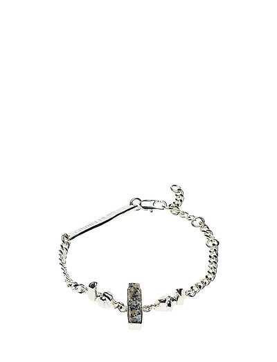 STONED CHAIN BRACELET - 20 SILVER PLATED