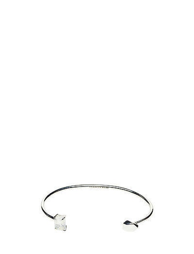 STONED OPEN CUFF SMALL - 20 SILVER PLATED