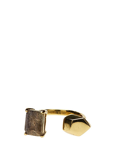 STONED OPEN RING XS - 52 GOLD PLATED