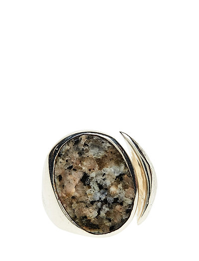 MOLDED STONE SIGNET RING - ROUND - S - 21 STERLING SILVER