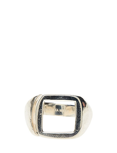 MOLDED CUTOUT SIGNET RING -SQUARE -S - 21 STERLING SILVER