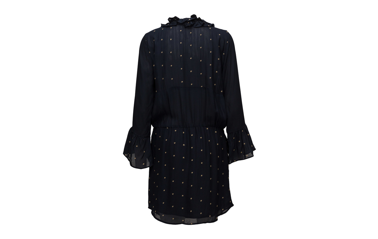 Gold 100 Viscose W Copenhagen Coster Dress Stars Embroidered Dark Blue W g88awp