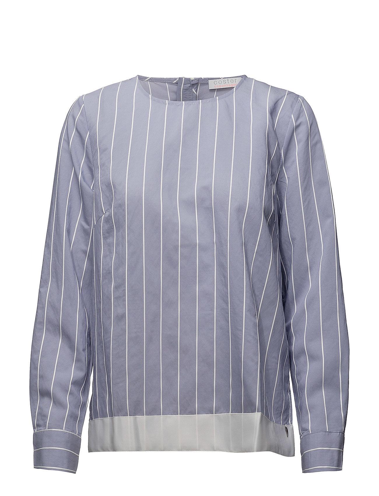Coster Copenhagen Striped shirt blouse w. ribbon edge Ögrönlar