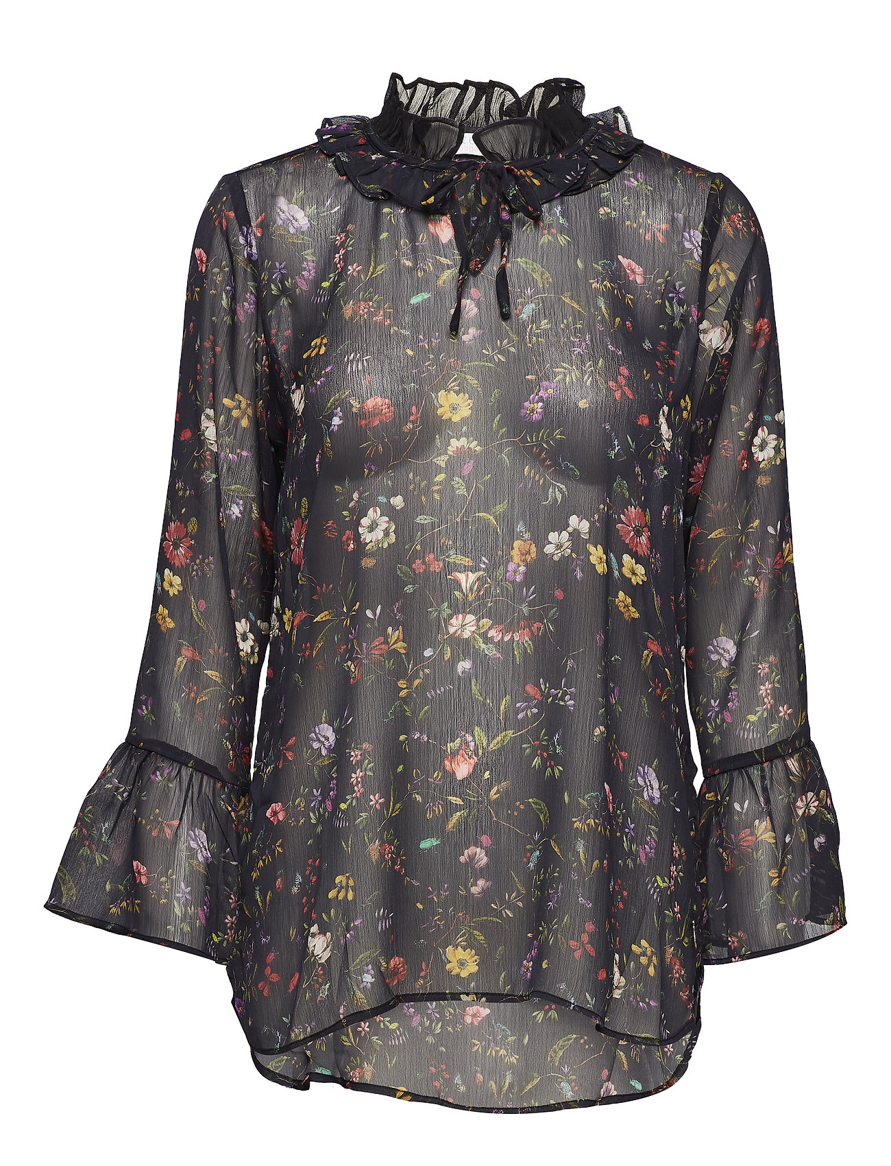 Coster Copenhagen Top in Botanical print w. ruffle neck and volant sleeves - BLACK