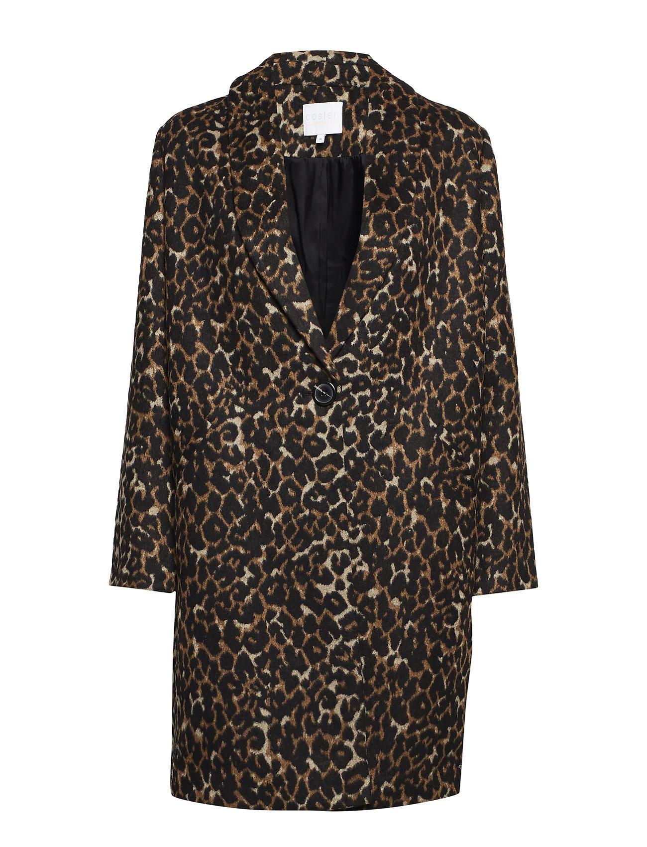 Coster Copenhagen Coat in Leopard print w. shawl coll Ytterkläder
