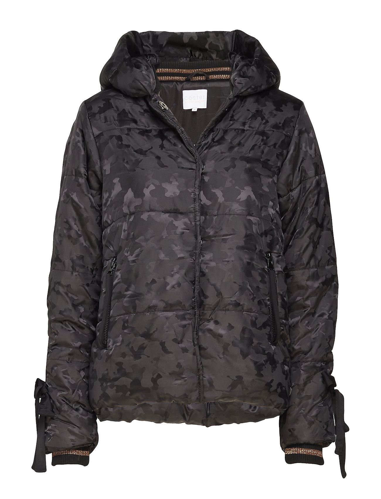 Coster Copenhagen Jacket in faux down w. camouflage - BLACK