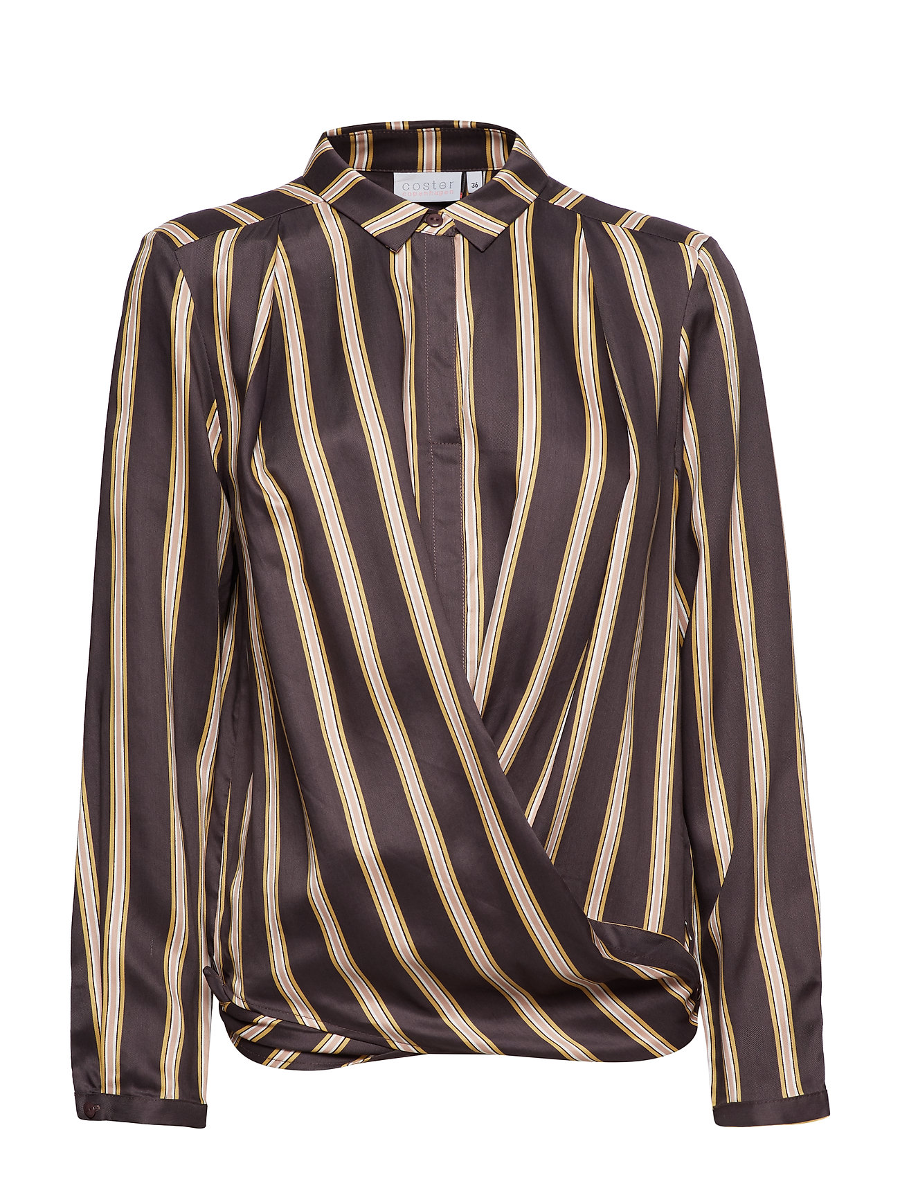 Coster Copenhagen Shirt in jacquard stripes w. button - GREY PLUM STRIPE